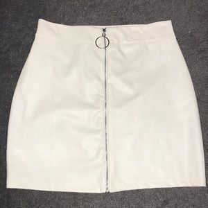 White pleather skirt